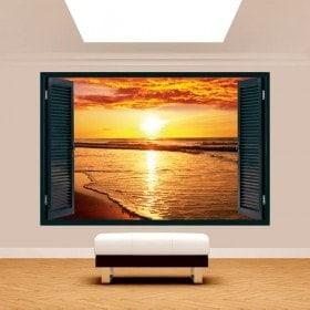 Fenêtre 3D coucher de soleil sur la plage