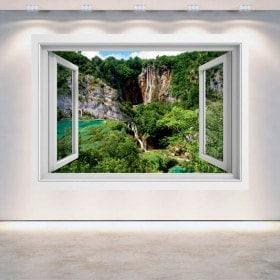 Windows 3D chutes d'eau dans les montagnes