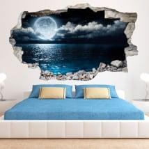 Lune 3D de vinyle et de la mer