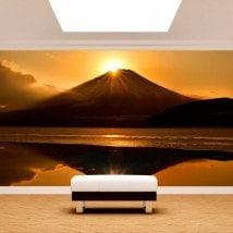 Fotomural coucher de soleil Mont Fuji lac Kawaguchi