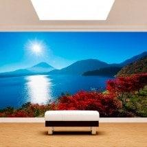 Photo murale peintures murales du coucher du soleil Mont Fuji