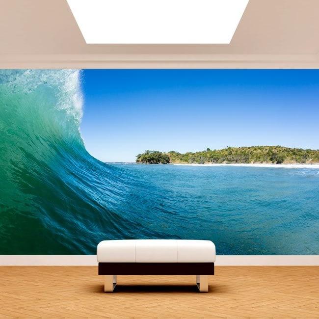 Peintures murales photo lors de la vague de la mer