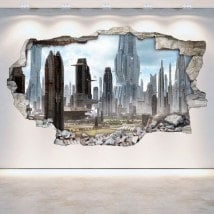 Rotin mur vinyles 3D ville de la future Scifi