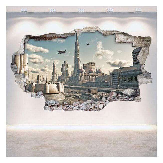 Mur de trou de vinyle 3D science fiction Scifi