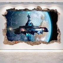 Vinyl 3D trou mur vaisseau spatial science fiction Scifi