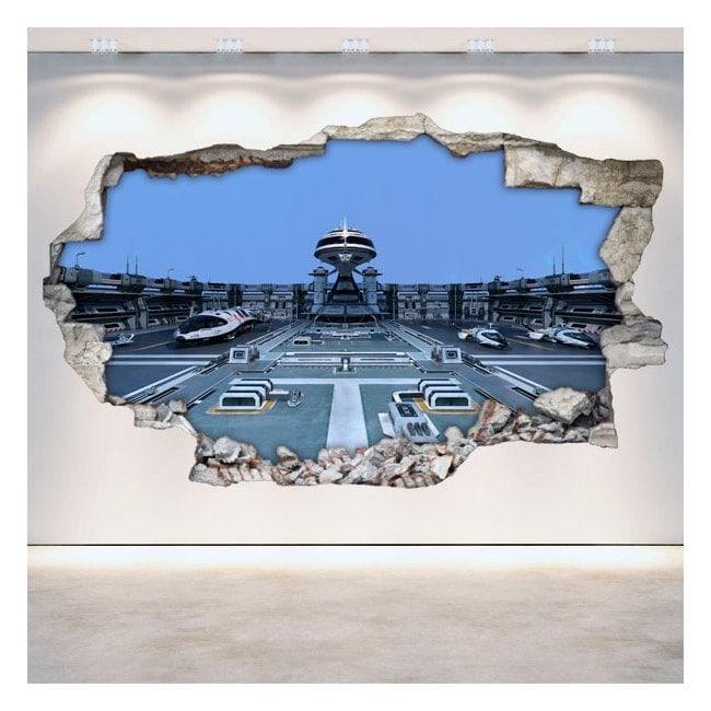 Vaisseaux spatiaux de rotin mur vinyles science-fiction 3D