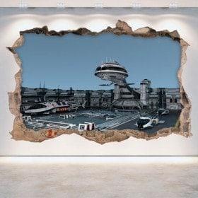 Vaisseaux spatiaux 3D rotin mur vinyles