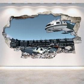 Mur 3D vinyle cassé espace station Scifi