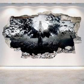 Mur 3D vinyle cassé Dracula