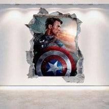 Mur 3D vinyle Captain America