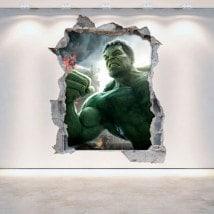 Vinyles de mur 3D cassés Hulk