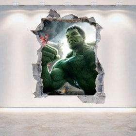 Mur 3D vinyle cassé Hulk