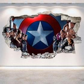 Mur de vinyle Captain America cassé 3D