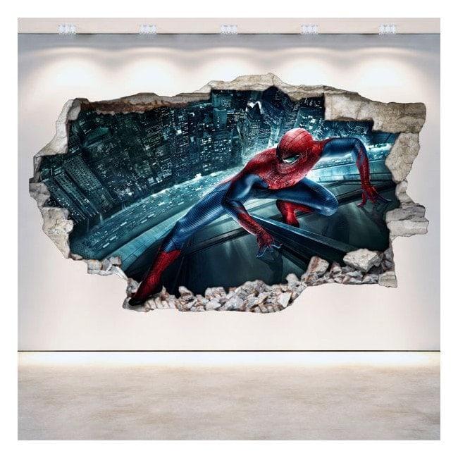 Vinyles de mur 3D cassés Spiderman