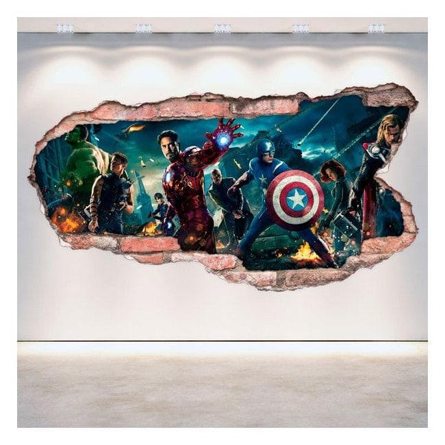 Vinyl mural cassé 3D Captain America