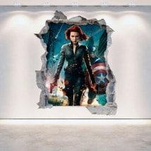 Mur 3D vinyle cassé Captain America