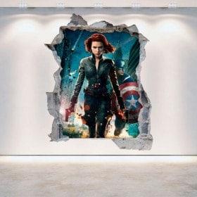 Vinyle de mur brisé 3D Captain America