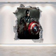 Vinyl mural rotatif 3D de Captain America