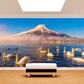 Peintures murales Swan lac Kawaguchi Mt. Fuji Photo
