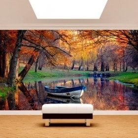 Photo mur murales bateau sur le lac