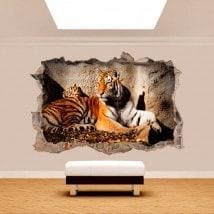 Mur de vinyle cassé Tiger 3D