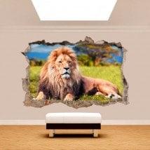 Vinyl mural cassée lion 3D Afrique