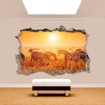 Vinyl mural cassés zèbres 3D Afrique
