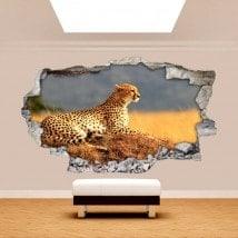Vinyle de mur 3D Afrique Leopard cassé