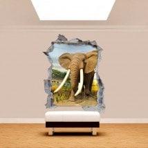 Vinyl mural cassé éléphant 3D Afrique