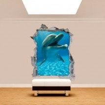Vinyl mural rotatif de dauphins 3D