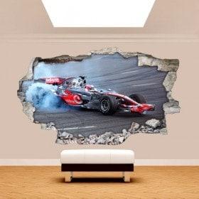 Vinyl mural cassé 3D formule 1