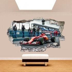 Mur 3D vinyle cassé voiture formule 1