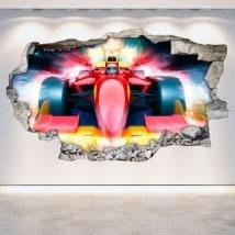 Formule 1 cassé vinyle mur 3D