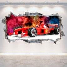 Mur de vinyle 3D formule 1 trou