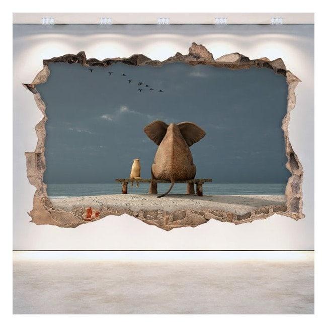Trou éléphant de mur en vinyle et chien 3D