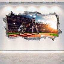 Baseball 3D vinyle mur brisé