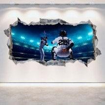 Baseball 3D du mur trou vinyle
