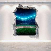 Mur de vinyle cassé Baseball 3D French 5287