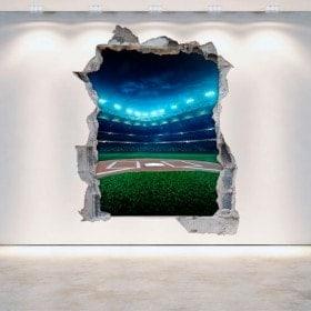 Mur de vinyle cassé Baseball 3D