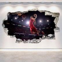 Basket-ball de vinyle trou mur 3D