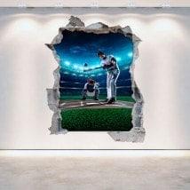 Mur de vinyle cassé Baseball 3D French 5293