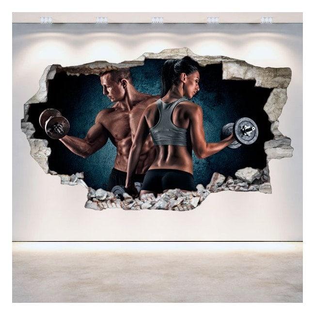 Salle de gym vinyl 3D trou mur