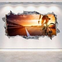 Mur de trou de vinyle vélo 3D