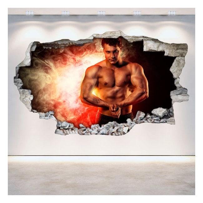 Vinyles de mur 3D cassés Gym