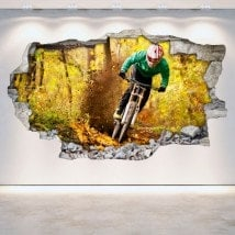 Vinyle de mur brisé de Mountain Bike 3D