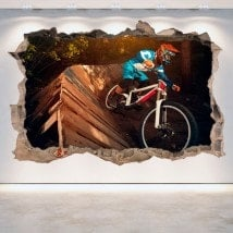 Vinyl mural cassé 3D Mountain Bike