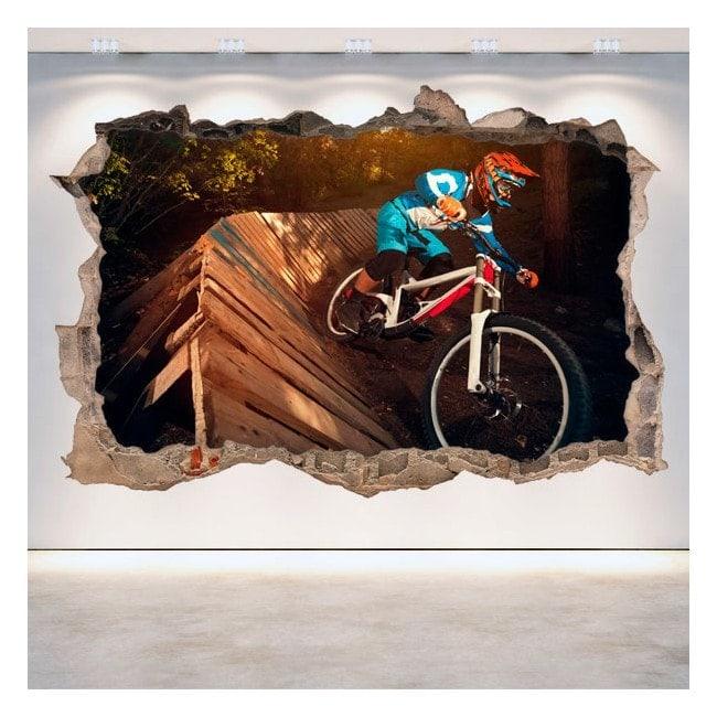 Vinyl mural cassé 3D Mountain Bike