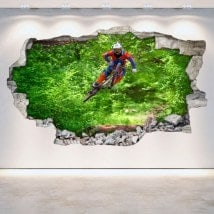 Mur de trou de vinyle 3D Mountain Bike