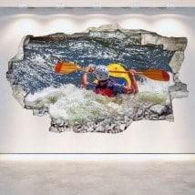 3D Rafting kayak vinyle mur brisé