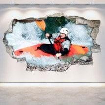 Vinyle Rafting kayak mur 3D